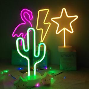Wholsale Insegna al neon da tavolo a LED Luce notturna Cactus Albero di cocco Albero di Natale Ananas Neon Lampada da tavolo Lampada da tavolo per Festival Deco