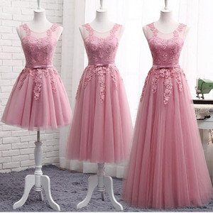 Blush Vestidos de dama de honor 2019 Junior Maid Of Honor Vestidos Formal Plisados ​​Invitado de boda Vestido de encaje de tul órdenes mixtas vestido de novia