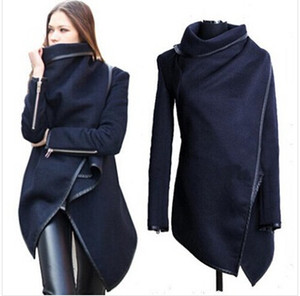 wholesale 2018 Black newly listed Autumn Spring Coat Womens Overcoat Temperament Slim Trench Design women Wool & Blends S-XXL
