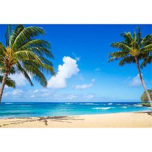 Praia tropical temático fotografia pano de fundo vinil palmeiras nuvens brancas céu azul e mar à beira-mar casamento Scenic Photo Booth fundo