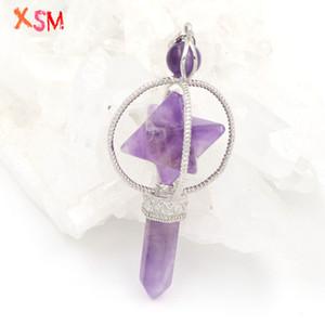 Personalizado Ametistas naturais Merkaba lápis Pingente dom espiritual Dowsing curas de Reiki Pendulum Cristal 1 Pcs