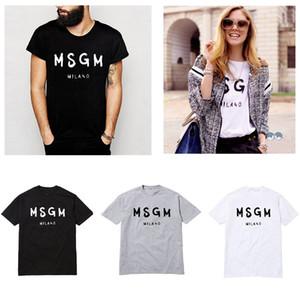 Großhandels-Hohe Qualität 2018 Männer / Frauen MSGM T-Shirt Sommer Paar Marke Brief gedruckt Tops T-Shirt Casual Baumwolle Kurzarm O-Neck T-Shirt