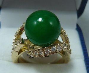 Pretty 18KGP 12MM Green Jade Women's Ring misura 6-10