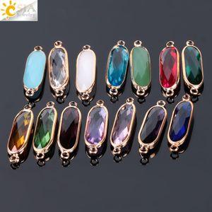 CSJA Mix Colors 10pcs Bezel impostazione lungo ovale a forma di gioielli fare perline di vetro donne maglione vestito casual collana accessori fai da te E889