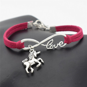 AFSHOR New Vintage Cute Animals Argento antico Lucky Horse Unicorn Charms Infinity Love Bracciale in pelle Bangles per le donne Regali Accessori