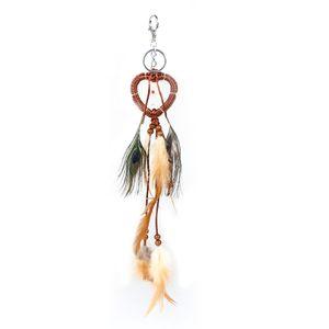 Coração Design Dreamcatcher Chave Anel Pena Contas Vermelhas Encantos Sonho Catcher Chaveiro Jóias Antique Handbag Ornament