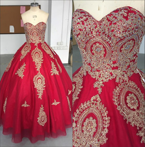 Sweetheart Lace Ball Gown Quinceanera Dresses 2018 100% Real Image Tulle Lace Applique Beaded Sweet 16 Party Prom Evening Gowns BA9370