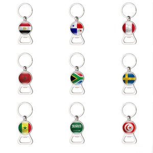 World Cup Soccer Trophy Flag Football Beer Bottle Holder Keychain apri Souvenir regalo chiave