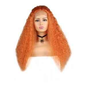 """Fashion Hot 28 """"parrucca anteriore del merletto parrucche sintetiche ricci crespi di colore arancione ricci lunghi per le parrucche di Cosplay delle donne"""