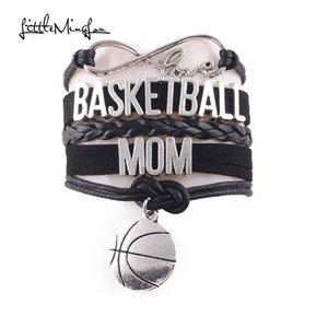 Küçük Minglou Infinity Aşk BASKETBOL ANNE bilezik Basketbol charm deri wrap bilezik kadınlar için bilezik takı
