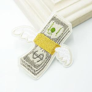돈을 비행 미국 달러 패치 헝겊 패치 수 놓은 귀여운 배지 히피 봉제 의류 스티커에 만화 패치에 다리미