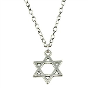 WYSIWYG 5 Pieces Metal Chain Necklaces Pendants Hand Made Necklace Men Star Of David 21x16mm N2-B10946