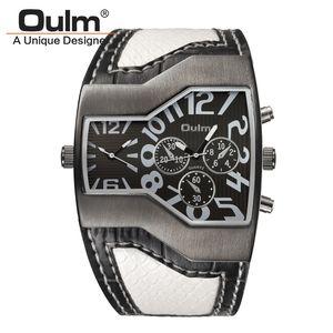 Oulm 1220 Uhren Herren-Sport-beiläufige PU-Leder-Armbanduhr Convex Gesicht Breite Trageriemen Dekorative Klein Dials Male Zu