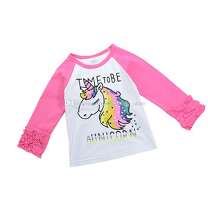 Baby girls unicorn Tees children animal print T-shirts cartoon ruffle tops 2018 new Boutique kids Clothing C3707