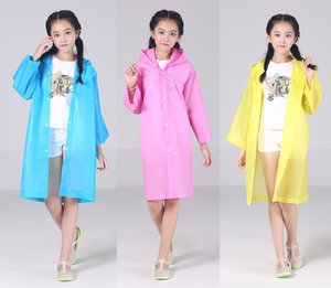 أطفال مقنعين سترة شفافة معطف واق من المطر المعطف المطر المعطف غطاء طويل فتاة بوي ملابس ضد المطر 5 ألوان