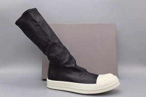 Cálido invierno ovejas cilíndrico personalizado superficie calcetín botas altas originales botas de suela de TPU usando el elástico f cuero genuino ow botas