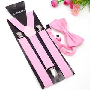Adult 3 Clip-on Y Rücken elastische Hosenträger Bowties Set Hosenträger Hosenträger Krawatten Brace Gurtband für Herren Neueste