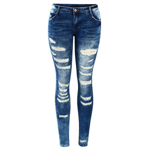 Mujeres Celebrity Style Fashion Blue Low Rise Skinny Jeans desgastados y elásticos Denim Stretch para mujeres Pantalones rasgados al por mayor