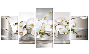 5 Pieces Canvas Wall Art Orchid Flower Painting White Flower Picture Prints on Canvas Line Background Home Wall Living Room Decor Unframed