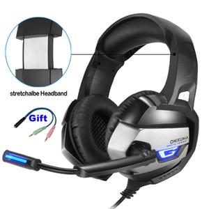 ONIKUMA K5 3.5mm Gaming Headset Headset مع MIC LED للكمبيوتر المحمول PS4 Xbox