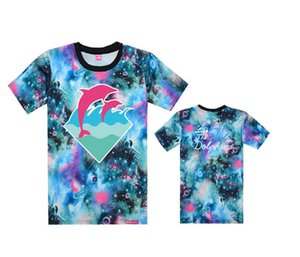 2018 Popüler pembe yunus t-shirt Erkekler Spor Kısa Kollu Baskılı Hip Hop T Gömlek Erkekler Hipster Giyim tshirt Streetwear Tees Gömlek moda