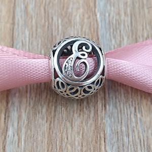 A bis J LETTERS 925 Sterlingsilber-Korn-Weinlese-Charme-Sitz-europäischen Pandora Style Schmuck Armbänder Halskette 791845CZ