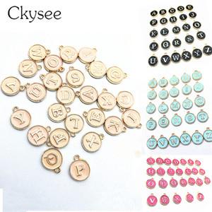 Ckysee 26pcs / lot 12 * 14mm Black White Alphabet Initial Charms Letters Enamel Pendant For Diyسوارات المجوهرات Making Finding