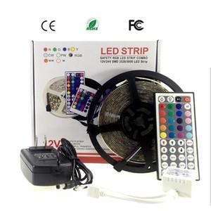 LED striscia 5M 3528 adattatore 2A striscia chiara flessibile 60LED / m CC 12V RGB LED Ribbon Fita con la musica della striscia LED Controller