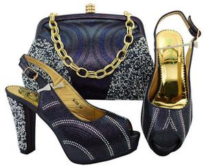 New fashion D.blue pumps donna con strass scarpe africane abbinabili a borsa set per abito M006, tacco 11CM
