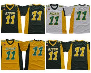 Mens North Dakota State Bison Carson Wentz College Football Maillots pas cher verts 11 Université Carson Wentz NDSU Cousu Football Shirts