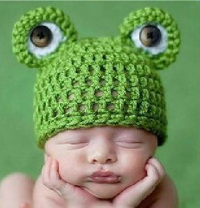 Cute Baby Infant Neugeborenen Handarbeit Häkelarbeit Strickmütze Frosch Hut Kostüm Foto Prop Babys Monat stricken Cartoon Animal Beanie