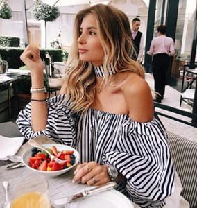 Dames De Mode Blouse Shirt Femmes D'été hors Épaule Top Sexy T-shirts Lanterne À Manches Slash Cou Blouse À Rayures