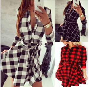 Fashion Summer Shirt Dress Noir Blanc Grid A-ligne Dress Casual Turn Dow Collar Boutons Sashes Robes Femmes Chemise Mini Party Dresses