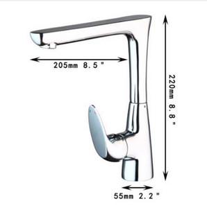 KEMAIDI - Grifo de cocina montado en cubierta de cromo pulido, soporte individual, agujero para soldar, caño giratorio, lavabo de cocina, grifo de mezclador de agua