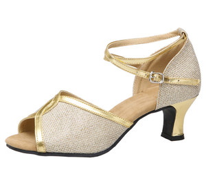 Chaussures de danse Salsa pour femmes Latin X en cuir scintillantes dans la salle de bal