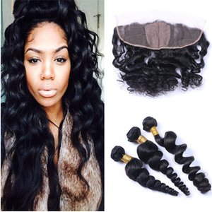 Silk Base Lace Frontal With Bundles Loose Wave Wavy Human Hair 3 Bundle Deals With 4x4 Silk Base Lace Frontal Closure