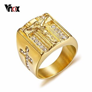 whole saleVnox Punk Jesus Christ Cross Chunky Ring for Men Stainless Steel Crystals Religion Prayer Male Hip-hop Jewelry Gold Color