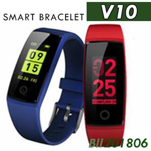 2018 V10 3 colores Pulseras inteligentes frecuencia cardíaca esfera de la salud pantalla grande Podómetro inteligente Bluetooth pulsera presión arterial