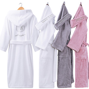 XMS New Bathrobes with Hooded Hat Kimono Lovers Warm Couple Sleepwear Robe Lady 100% Coon Nightwear Robes Male Soft Bathrobe