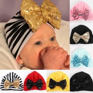 Chapeau bébé enfants pour les filles garçon noël chapeau chapeau bébé chapeau de paillettes noeud noué chapeau enfant en bas âge