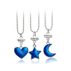 Doce cor BFF Colares Para 2 3 dos desenhos animados melhores amigos Colar lua estrela jóias coração cristal mostra coroa flor sapatos arco-íris