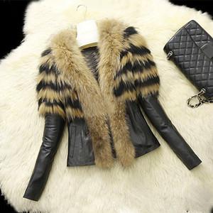 2019 новое прибытие женщин искусственного меха PU кожаные куртки и пальто Женские Осень Зима меховые куртки длинные енота воротник пальто S-XL