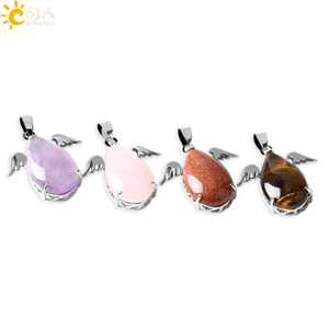 CSJA Fashion Little Angel Wings Natural Amethyst Pink Quartz Gem Stone Pendants for Necklaces Women Turquoise Opal Jewelry E227
