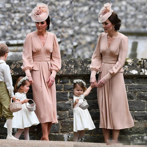 Hot Sales Chiffon mother of the bride dress long Sleeves Tea Length Vintage country V neck Dusty pink formal evening gowns guest wear