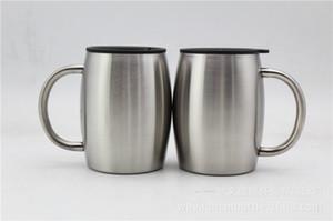 Tazas de cerveza de café de acero inoxidable de 14 oz con tapa Vaso con taza de café aislado de doble pared con aislamiento de 14 oz