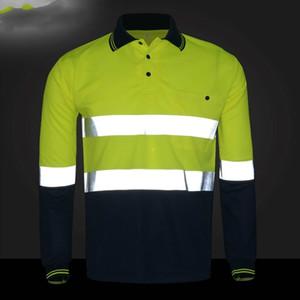 2018 yansıtıcı T-shirt uzun kollu yol çalışması erkekler ve kadınlar yönetimi yansıtıcı giyim yol trafik güvenliği giyim