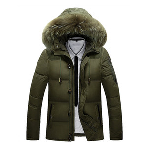 2019 Winter Jacket Male Coat Warm Duck Down Zipper ski jacket Outwear Middle Long Parka With Fur Hooded Thick 4 colors Jackets