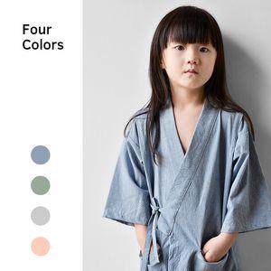 Niños Japoneses Primavera Otoño Hogar Kimono Pijamas Algodón Bebé Niños Niñas Sauna Spa Aire acondicionado Ropa Traje