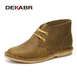 DEKABR New Fashion Scarpe comode Split Stivaletti in pelle da uomo estivo Boot Lace-Up High Top da uomo traspirante Stivali fatti a mano