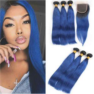 Virgin Brazilian # 1B / Blue Ombre paquetes de armadura de cabello humano con 4x4 Lace closure Silky Straight Ombre Blue 3 paquetes de ofertas con cierre